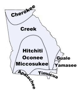 Map Of Georgia 1830.Georgia Indian Tribes And Languages